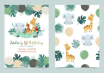 Green birthday card with elephant,fox,giraffe,parrot,ribbon and balloon Wall mural