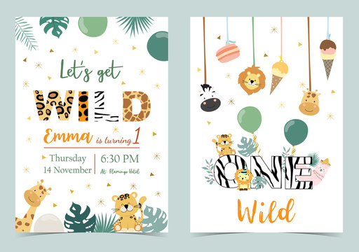 Green birthday card with tiger,giraffe,zebra,llama,lion,ice cream and balloon