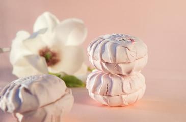 sweet pink marshmallow on beige background, Magnolia flower in the background, dessert,