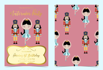 Pink blue birthday invitation with nutcracker,princess,ballet and solider