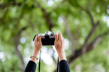 Hand and camera shots Photography concept With copy space