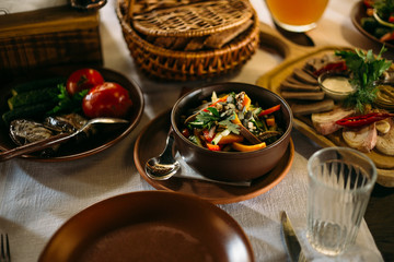 popular Ukrainian dishes on the table, food photography