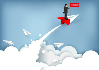 businessmen stand on paper plane a red catch the red flag. charged up to the sky while flying above a cloud. business finance success. leadership. creative idea. startup. illustration cartoon vector
