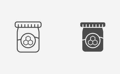 Honey jar filled and outline vector icon sign symbol