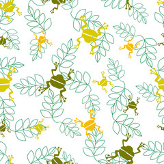 Seamless vector pattern with a toad. Silhouette of a frog on green leaves. Design for wallpapers, fabrics, posters.