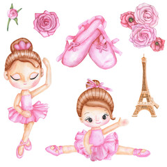 Watercolor set with girl ballerina dancer in pink ballet dress, Eiffel Tower, ballet pointes, roses. Illustration isolated on white background.