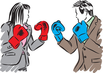 business people man and woman kick boxing illustration