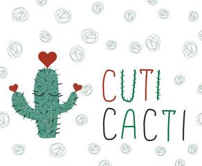 Cuti Cacti slogan and glitter cactus