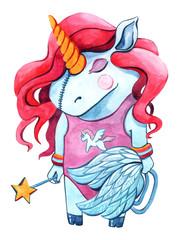 Watercolor unicorn clipart isolated on white background. Nursery unicorns illustration. Princess unicorns poster. Trendy pink cartoon horse.