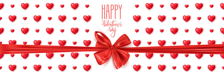 Happy Valentine's Day banner with cute red hearts, vector illustration