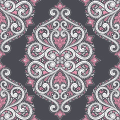White, black and pink floral seamless pattern. Vintage vector, paisley elements. Traditional,Turkish, Indian motifs. Great for fabric and textile, wallpaper, packaging or any desired idea.