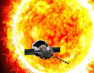 Parker Solar Probe in viaggio verso il sole. Lo scopo della sonda è quello di analizzare attentamente il Sole e il suo vento solare. 3d rendering