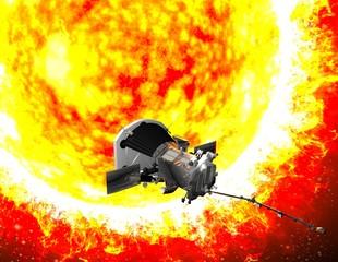 Parker Solar Probe in viaggio verso il sole. Lo scopo della sonda è quello di analizzare attentamente il Sole e il suo vento solare. NASA. 3d rendering