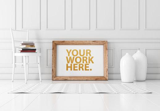 Horizontal Wooden Frame on the Floor Mockup