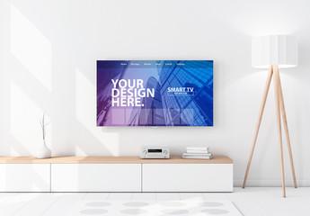Smart TV on a Wall Mockup