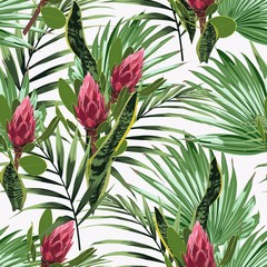 Seamless pattern, bright green colors palm leaves and tropical exotic red protea flowers on white background.