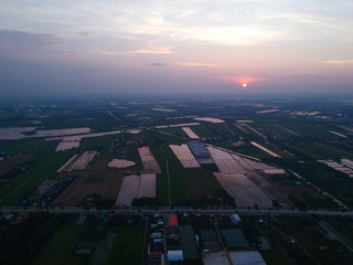 Beautiful sunset from aerial view at thailand