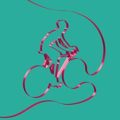Colorful ribbon shapes a cyclist, vector