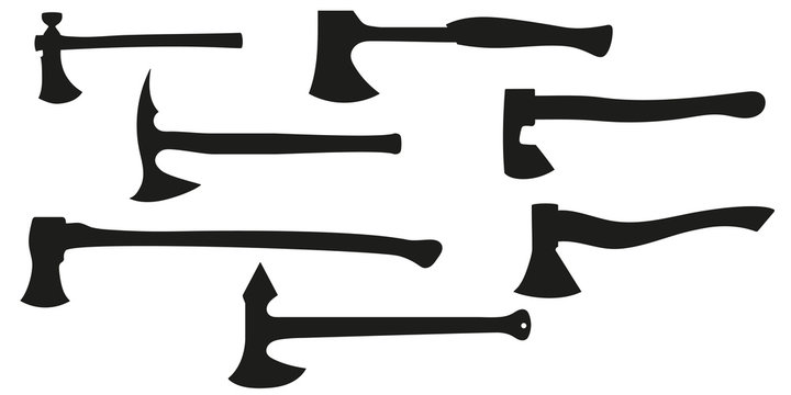 Set of all kinds of axes. Black silhouette axe. Vector illustration.