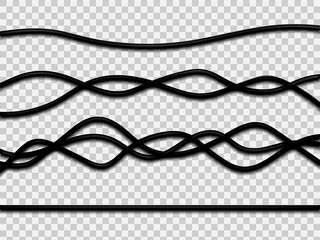 Realistic electrical wires isolated on white background. Vector illustration.