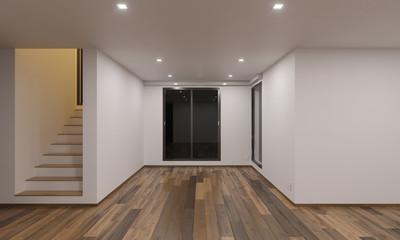Empty Night Time Rendering of Open Plan Floor 3D Rendering