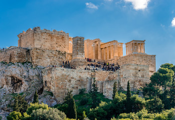 View of the Acropolis of Athens, in Greece. Photo taken from Areopagus Hill.
