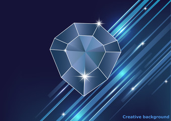 Gemstone, diamond. Magic crystal on a bright background with stripes.