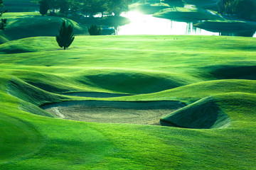 Golf course beautiful turf and putting green, Golf course in Thailand.