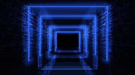 Abstract arch, tunnel, corridor, neon light, rays. 3d illustration