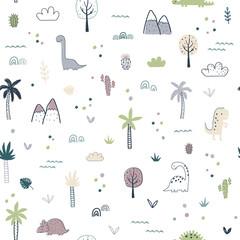 Cartoon seamless pattern with dinosaurs
