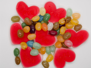 Colorful and lovely collection of sweet jelly(jelly bean, heart shaped jelly, sunny side up egg shaped jelly)