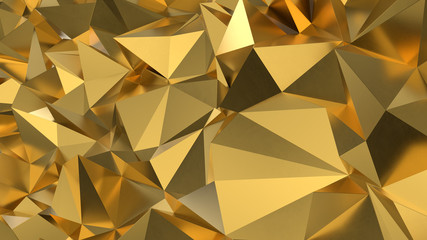 abstract golden geometric crystals. Minimal quartz, stone, gems. Low poly background