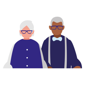 cute grandparents couple interracial characters