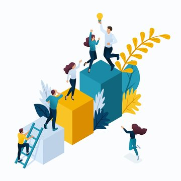 Isometric Business Concept, Young Entrepreneurs