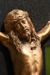 the head of Jesus ,Crucifix in the cemetery in Bistrita , ROMANIA,