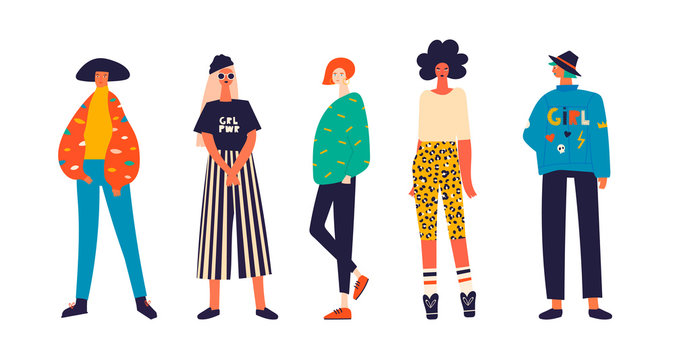 Five girls dressed in trendy clothes standing in various poses. Girl power concept. Female cartoon characters. Hand drawn colored vector set. All elements are isolated