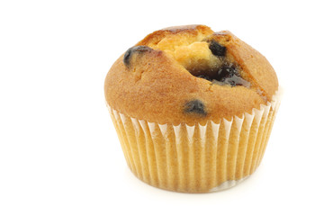 tasty blueberry muffin on a white background