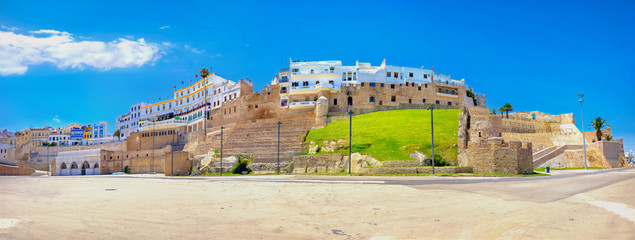 Garden Poster Morocco Ancient fortress and residential houses in Medina. Tangier, Morocco