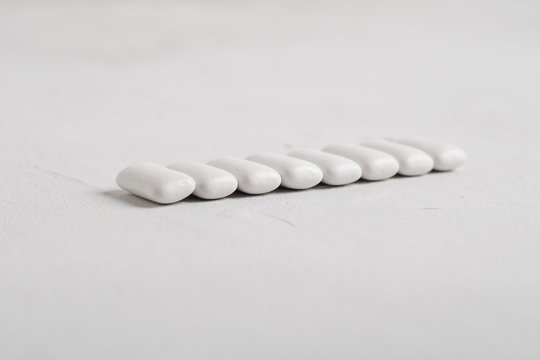 white chewing gum on white background
