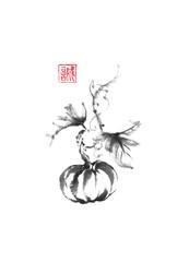 Pumpkin vine Japanese style original sumi-e ink painting.