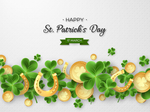 St. Patricks Day card. 3d clover leaves, horseshoes and metallic coins on white background for greeting holiday design. Vector illustration.