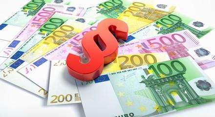 Roter Paragraph auf Euroscheinen