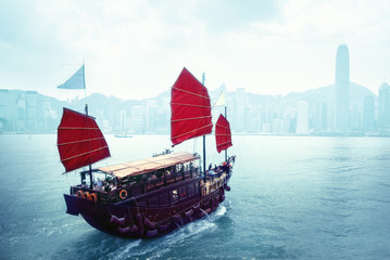 Fototapete - Hong Kong harbour, China