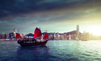 Fototapete - Hong Kong harbour in sunset time