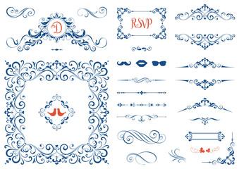 Vintage ornate frames, decorative ornaments, flourish and scroll elements.