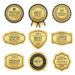 set of  gold vintage badges and labels