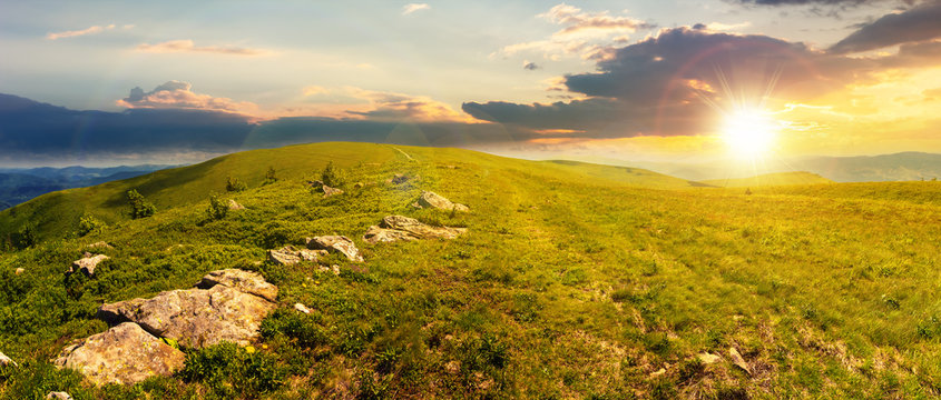 panorama of beautiful carpathian alpine meadows at sunset in evening light. wonderful summer landscape. fluffy clouds on the blue sky. stones on the edge of a hill