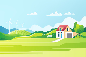 Spring rural landscape. Suburban traditional  house. Family home. Vector illustration. Wall mural