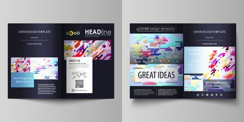 Business templates for bi fold brochure, flyer. Cover design template, abstract vector layout in A4 size. Bright color colorful minimalist backdrop, geometric shapes, beautiful minimalistic background