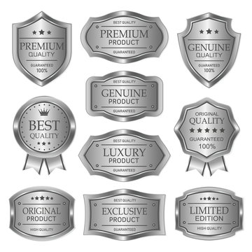 set of metal badges labels and elements